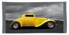 Yellow 32 Ford Deuce Coupe Hand Towel