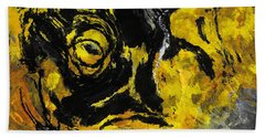 Yellow And Black Abstract Art Hand Towel by Ayse Deniz