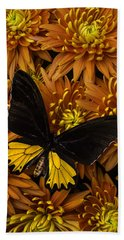 Yellow And Black Butterfly On Mums Bath Towel