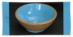 Yellow And Blue Ceramic Bowl Hand Towel by Suzanne Gaff