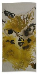 Yellow And Brown Cat Hand Towel by AJ Brown