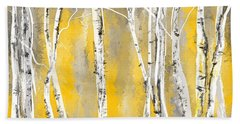 Yellow And Gray Birch Trees Hand Towel