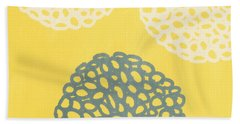 Yellow And Gray Garden Bloom Bath Towel