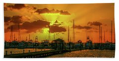 Yellow And Orange Rays Bath Towel