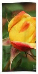 Yellow And Orange Rosebud Hand Towel