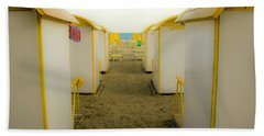 Yellow Beach Cabanas Bath Towel