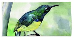 Bath Towel featuring the painting Yellow Bellied Sunbird by Dora Hathazi Mendes