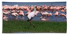 Yellow Billed Stork Bath Towel