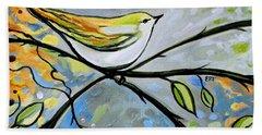 Yellow Bird Among Sage Twigs Hand Towel
