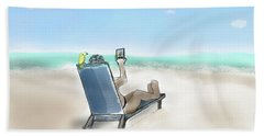 Yellow Bird Beach Selfie Bath Towel