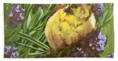 Bath Towel featuring the painting Yellow Bird by Karen Ilari