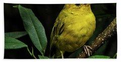 Bath Towel featuring the photograph Yellow Bird by Pradeep Raja Prints