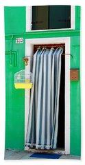 Yellow Birdcage- By Linda Woods Bath Towel