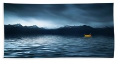 Hand Towel featuring the photograph Yellow Boat by Bess Hamiti