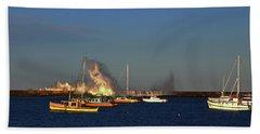 Yellow Boats And Angry Sea Hand Towel