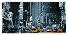 Yellow Broadway At Night - Nyc Bath Towel