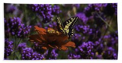 Yellow Butterfly On Red Petals Bath Towel