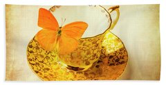 Yellow Butterfly On Yellow Tea Cup Hand Towel