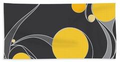 Yellow Circles Abstract Design Hand Towel