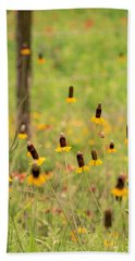 Bath Towel featuring the photograph Yellow Cone Flower by Chris Coffee