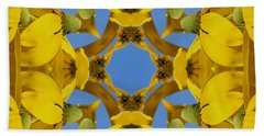 Yellow Coneflower Kaleidoscope Bath Towel
