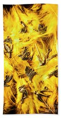 Yellow Feather Flock Hand Towel