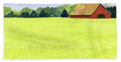 Yellow Field Hand Towel by Anne Marie Brown