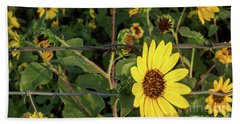 Yellow Flower Escaping From A Barb Wire Fence Bath Towel