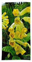 Yellow Flowers 2 Bath Towel by Jean Bernard Roussilhe