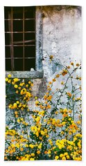 Bath Towel featuring the photograph Yellow Flowers And Window by Silvia Ganora