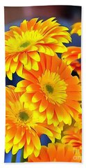 Yellow Flowers In Thick Paint Hand Towel