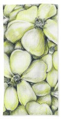 Yellow Flowers Pencil Bath Towel