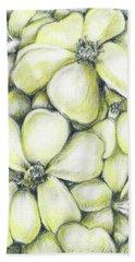 Yellow Flowers Pencil Bath Towel