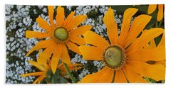Yellow Flowers Zoom Hand Towel by Jasna Gopic