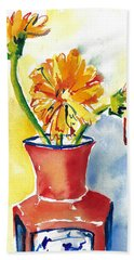 Yellow Gerbera Daisies In A Red And Blue Delft Vase Bath Towel