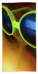Bath Towel featuring the photograph Yellow Goggles With Reflection by Carlos Caetano