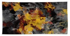 Hand Towel featuring the painting Yellow / Golden Abstract / Surrealist Landscape Painting by Ayse Deniz