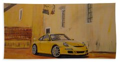 Yellow Gt3 Porsche Bath Towel