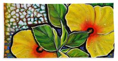 Yellow Hibiscus A Decorative Painting With Mosaic Style On Sale Hand Towel