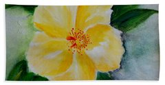 Yellow Hibiscus Bath Towel by Jamie Frier