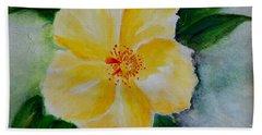 Yellow Hibiscus Bath Towel by Jamie Frier