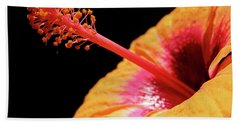 Hand Towel featuring the photograph Yellow Hibiscus by Marie Hicks