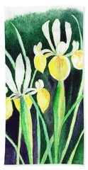 Yellow Iris Flowers Bath Towel
