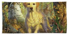 Yellow Lab In Fall Bath Towel