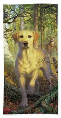 Yellow Lab In Fall Hand Towel
