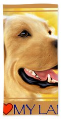 Yellow Lab Portrait Hand Towel
