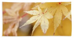 Yellow Leaf With Red Veins Bath Towel