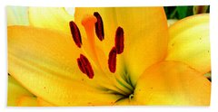Hand Towel featuring the photograph Yellow Lilies 1 by Randall Weidner