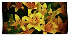 Bath Towel featuring the photograph Yellow Lilies by Joann Copeland-Paul