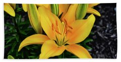 Hand Towel featuring the photograph Yellow Lily 008 by George Bostian